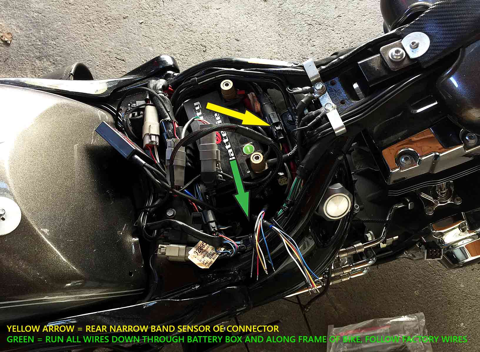 Info    Pics 4 Diy  Powervision Target Tune Sensor Wiring Locations And Routing On Softail